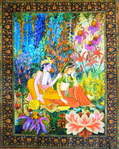 the flower bower, Krishna appeasing Radha's anger, Krishna pleading with His sweetheart