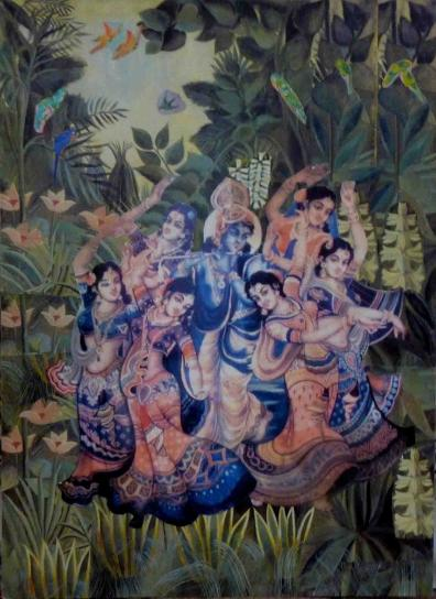 Krishna dancing with the gopis in the forest, dance of joy