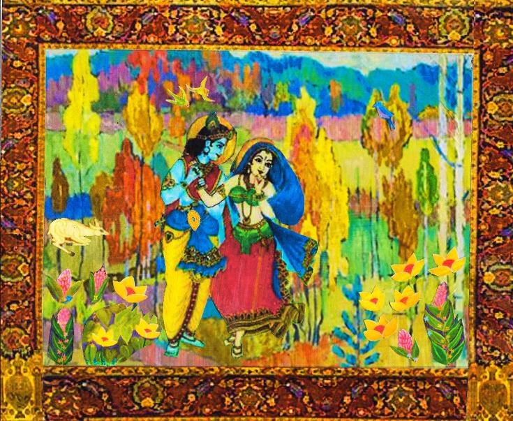 Krishna courting Radha in the forest