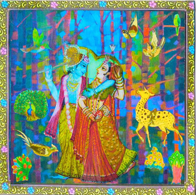 lovers strolling through the wood, wandering together in the forests, Krishna courting Radha