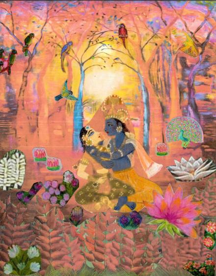 anuraga, loving embrace in the forest pink with prema, the divine couple embracing deep in the forest