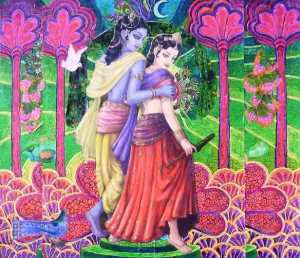 Van Vihara, Walking together through the forest, Two lovers strolling arm in arm, fantastic forest, enchanted landscapeugh