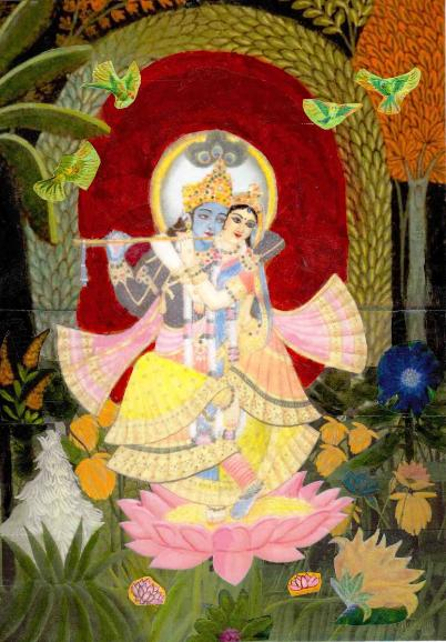 Yugala Murti, the divine couple embracing and dancing together in the forest bowers of Vrindavan